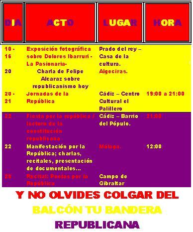 ACTIVIDADES POR EL 75º ANIVERSARIO DE LA II REPÚBLICA ESPAÑOLA DURANTE EL MES DE ABRIL